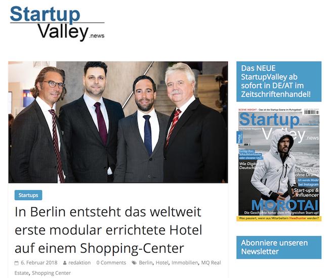 """<a class=""""headmagazine"""" href=""""  https://www.startupvalley.news/de/mq-real-estate-das-erste-modular-errichtete-hotel/  """" target=""""_blank"""" rel=""""noopener noreferrer"""">  Presse  </a><br /><br /><a class=""""submagazine"""" href=""""  https://www.startupvalley.news/de/mq-real-estate-das-erste-modular-errichtete-hotel/  """" target=""""_blank"""" rel=""""noopener noreferrer"""">  In Berlin entsteht das weltweit erste modular errichtete Hotel auf einem Shopping-Center  </a>"""